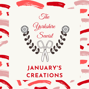 Image shows The Yorkshire Sewist logo with brush strokes and January's creations